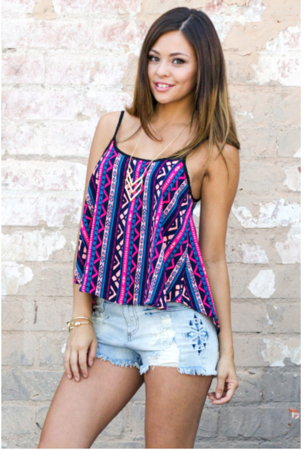 top tribal pattern tribal print top top cami top open back hipster girl girly boho bohemian