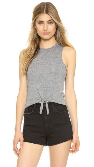 muscle tee tie front grey top