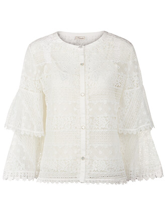 blouse lace white white lace top