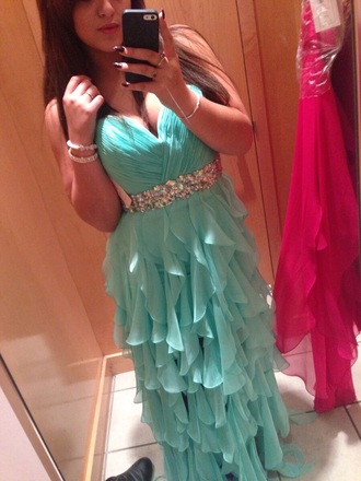 dress andy love prom turquoise dress fashion style