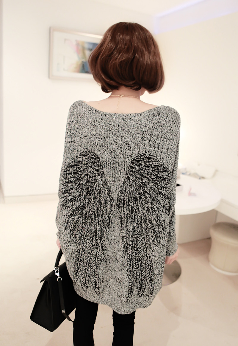 free shipping women's sweaters 2013 small fashion wings irregular pattern Knit sweater of loose big yards 2 27-inPullovers from Apparel & Accessories on Aliexpress.com