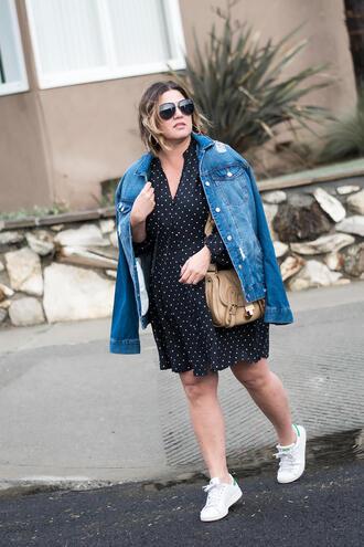 shoes sunglasses barefootinla blogger dress jacket bag denim jacket sneakers
