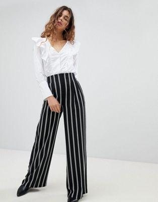 Miss Selfridge Wide Leg Stripe Trousers at asos.com