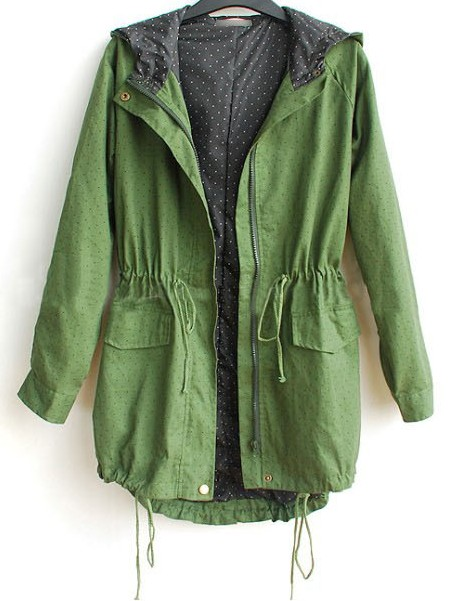 Green Hooded Long Sleeve Polka Dot Zipper Cotton Blends Outerwear - Sheinside.com