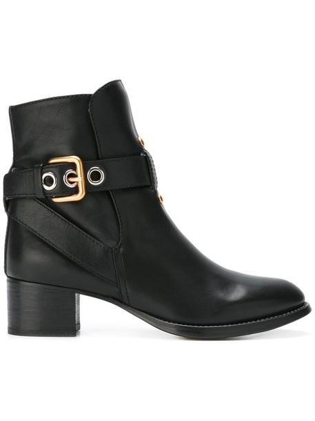 Chloe women leather black shoes