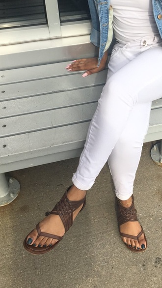 shoes brown braided straps criss cross jeans flat sandals