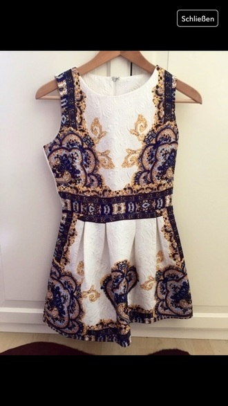 dress vintage white blue gold beautiful sheinside