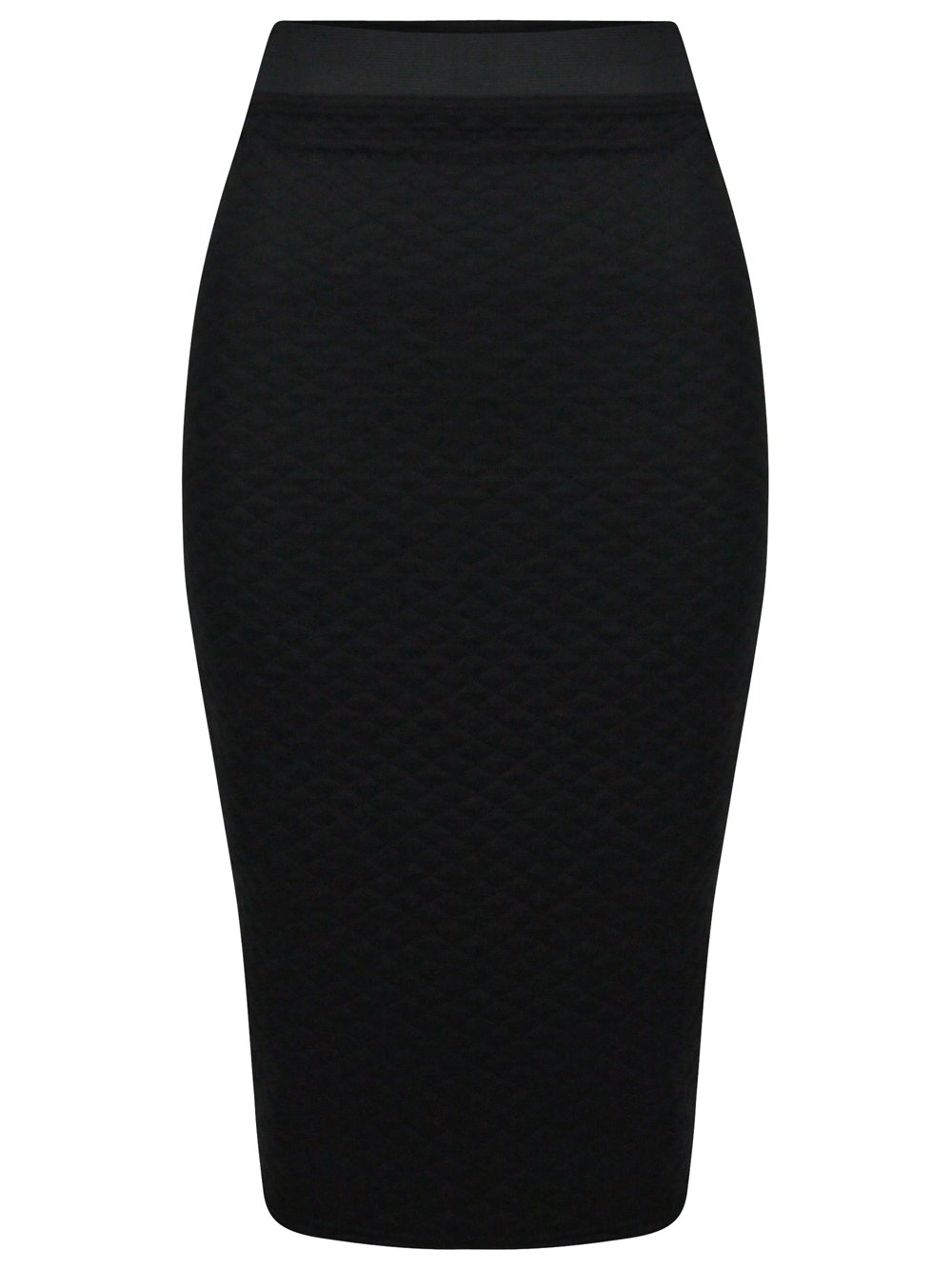 black quilted bodycon midi skirt