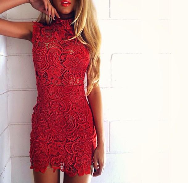 b9b9bfa3f74d dress red dress red sexy lace summer style fashion night tan shorts lace  dress bodycon bodycon