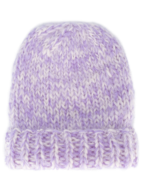 thick mohair beanie purple pink lilac hat