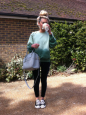 sweater,studs,studded,green,aqua blue,dip dyed,ombre,bag,blouse,ombre sweater
