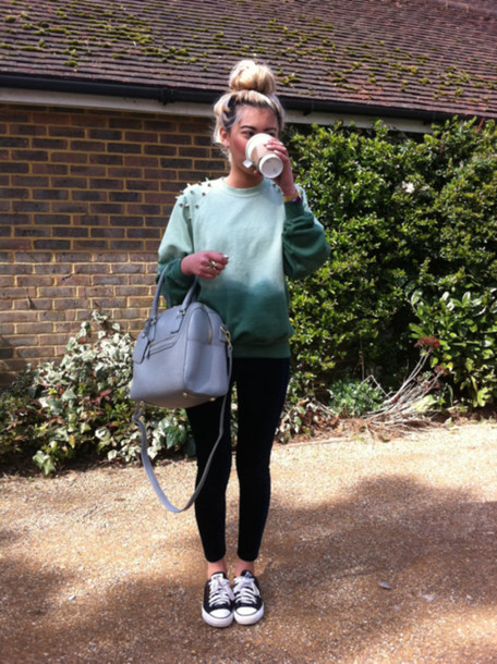 sweater studs studded green aqua blue dip dyed ombre bag blouse ombre sweater