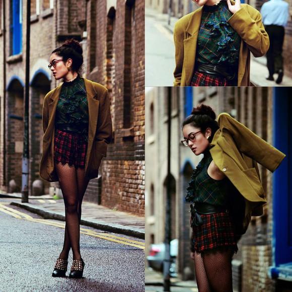 blogger jacket tartan top fall outfits alessandra kamaile mustard
