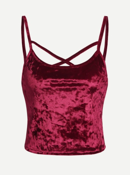e381af67dfb838 blouse girly red crushed velvet velvet strappy crop tops crop cropped