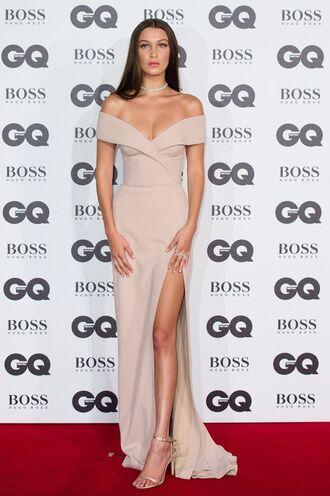 dress beige bella hadid long dress red carpet dress