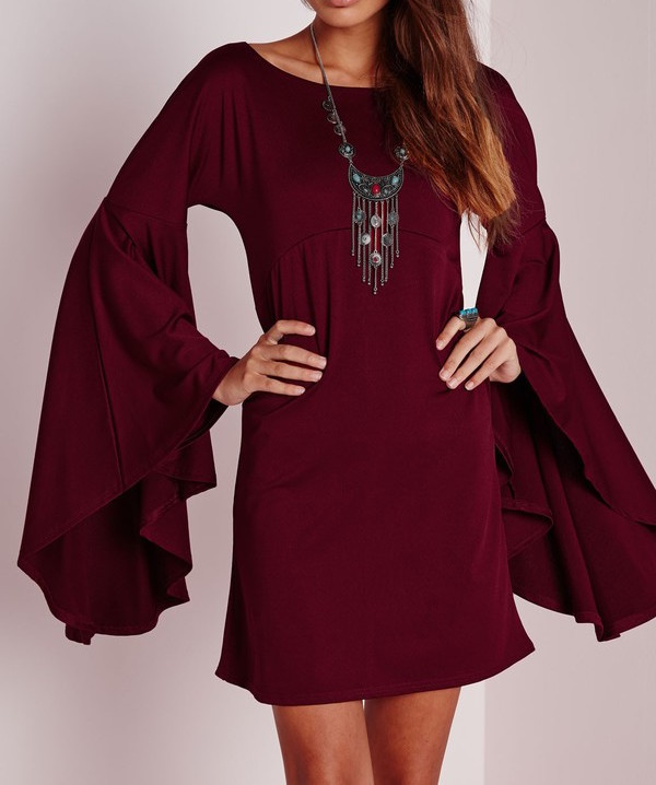 dress shanghaitrends bell sleeves jersey dress burgundy red dress shift dress ss16 boho chic