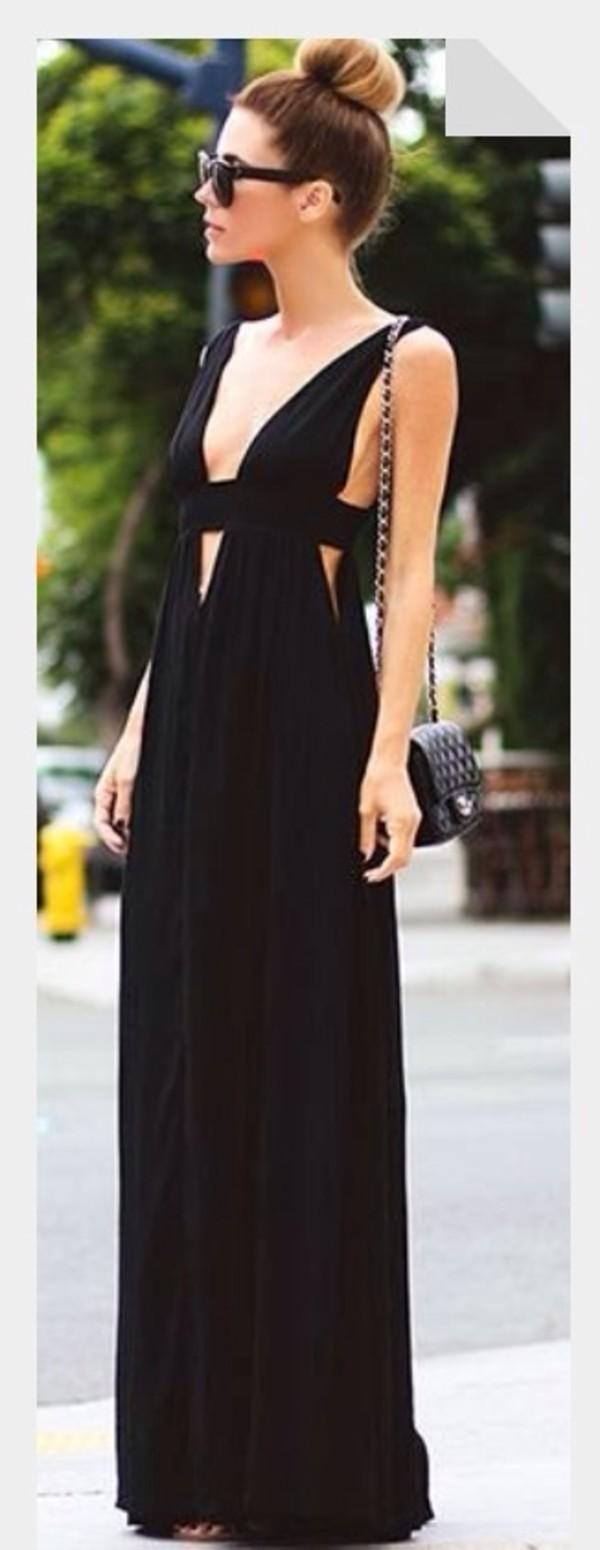 dress black maxi dress cut-out