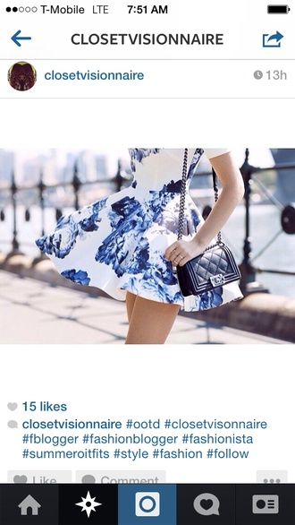 dress floral flowers print mini short blue peonies satchel bag shoulder bag