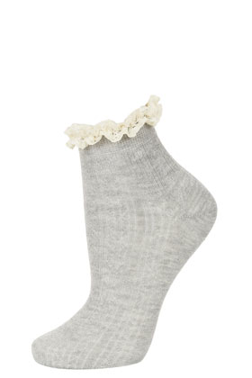 Grey Cream Lace Trim Socks - Topshop