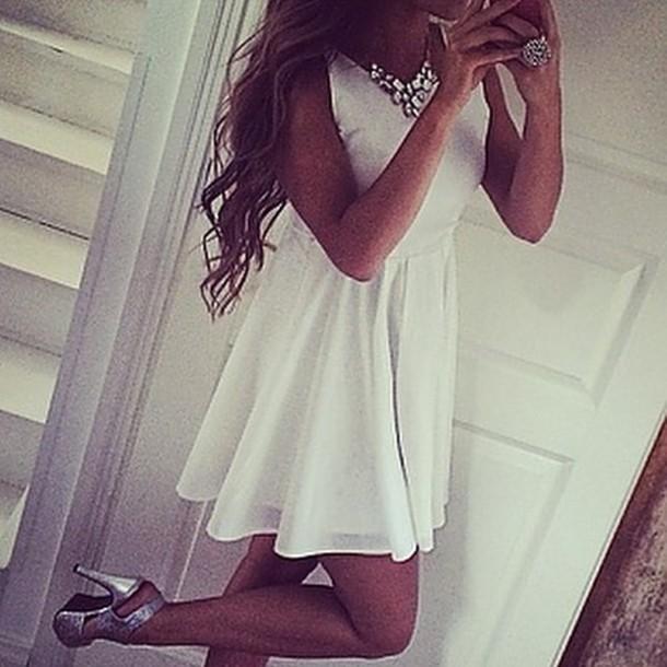 jewels silver dress white dress white cream girly fashion outfit white dress skater dress