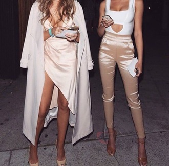 pants kendall jenner silk nude pants white top nude heels white coat silk dress white dress dress