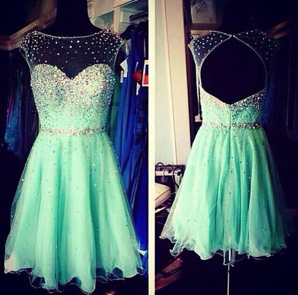 sparkly mint beautiful green dress