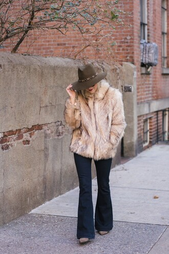 my style pill blogger hat top coat sunglasses jeans shoes felt hat fur coat flare pants winter outfits