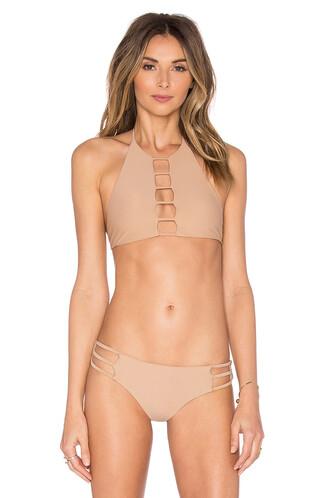 bikini bikini top halter bikini strappy beige