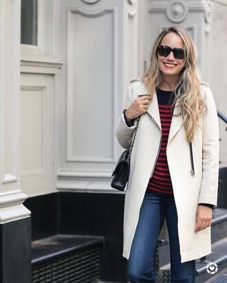 jeans blue jeans sweater sunglasses black sunglasses coat white coat