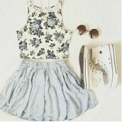 shirt,floral,flowers,skirt,blue,top,converse,white,sunglasses,outfit,outfit idea,tumblr outfit