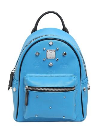 backpack leather backpack leather blue royal blue bag