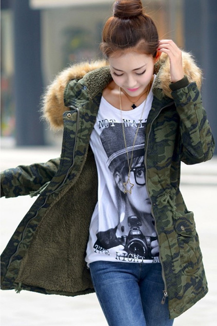 damen wintermantel mit kapuze jacke frauen parka lang winterjacke damenmantel camouflage berlinmo. Black Bedroom Furniture Sets. Home Design Ideas