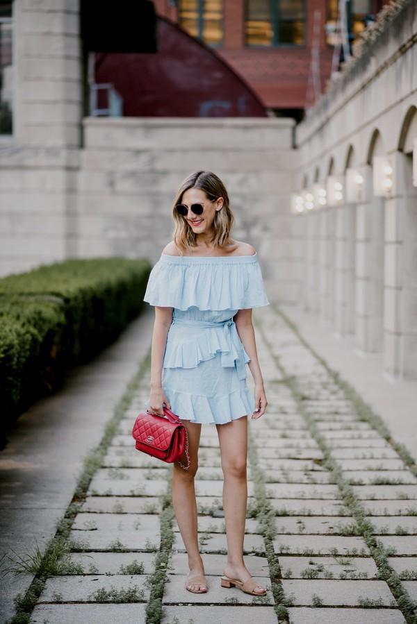 dress tumblr off the shoulder off the shoulder dress blue dress mini dress ruffle ruffle dress bag red bag sandals mules shoes