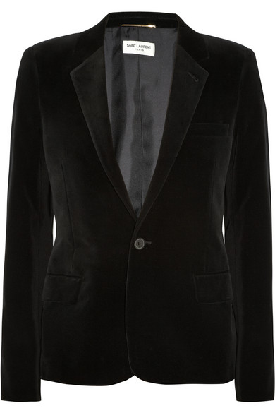 Saint Laurent|Cotton-blend velvet blazer|NET-A-PORTER.COM