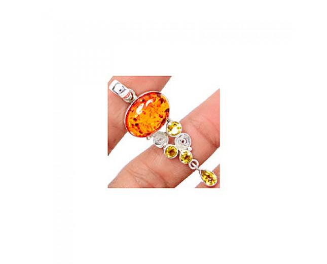 Handmade 925 sterling Amber Pendant