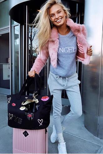 jacket fur fur jacket romee strijd sweatpants sweater model sneakers bag victoria's secret victoria's secret model pants
