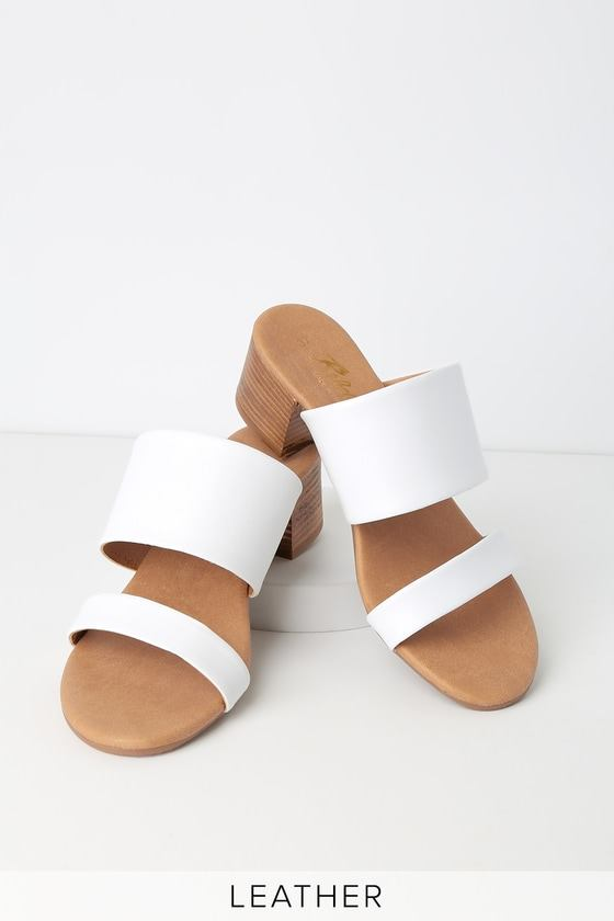 Westley White Leather High Heel Sandals