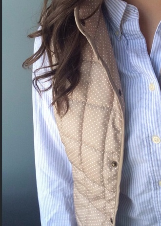 jacket vest tan polka dots