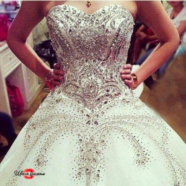 dress sweetheart dress jewels prom dress prom gown wedding dress princess wedding dresses