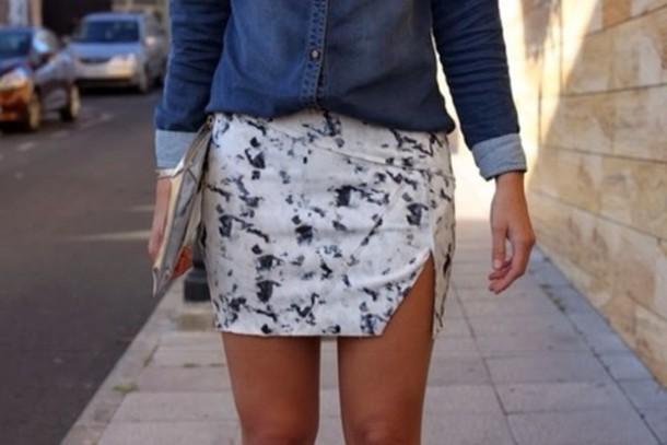 skirt blue and white skirt shorts