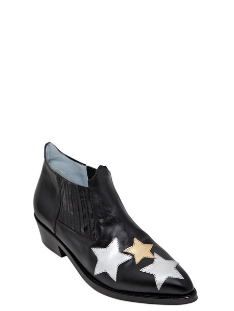 Chiara Ferragni leather ankle boots boots ankle boots leather stars black shoes
