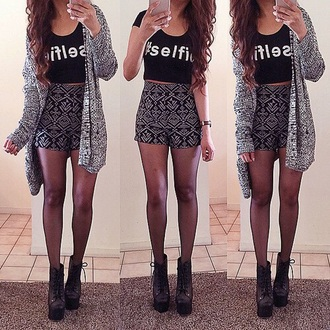 shorts cardigan shoes top