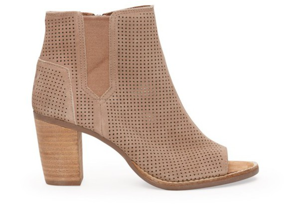cc861b12258 shoes toms shoes women suede ankle boots open toed heels tan heels suede  boots peep toe