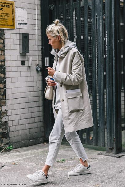 coat beige streetstyle stan smith grey hoody beige coat trench coat