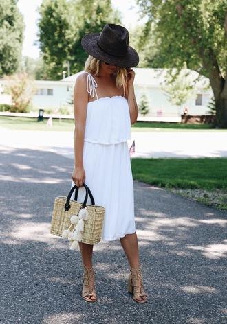 somewherelately blogger dress hat bag sunglasses shoes