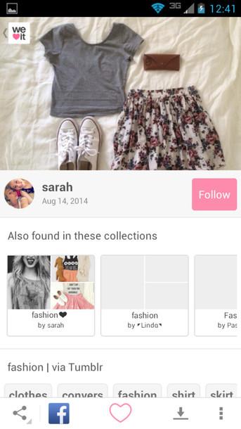 top grey skirt pretty summer flowers girly bag shirt