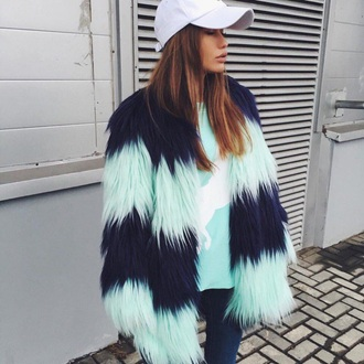 jacket fur blue fashion style trendy cool fall outfits winter outfits coat boogzel girl girly fur coat tumblr faux fur coat faux fur jacket cap