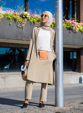 pants,stockholm fashion week,streetstyle,nude pants,nude skirt,top,white top,shoes,mules,sunglasses,bag