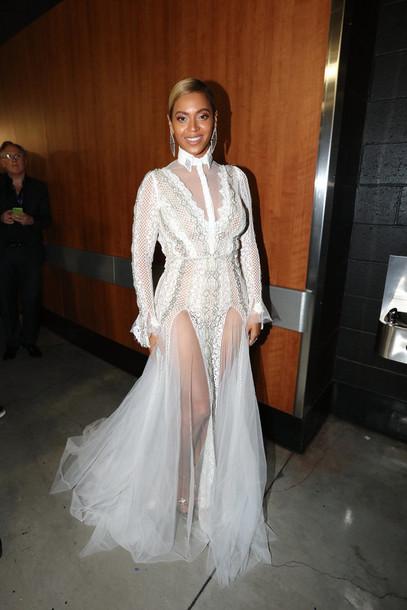Dress Gown Grammys 2016 White White Dress Slit Dress Beyonce