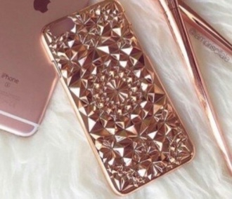 phone cover metallic rose gold glitter phone case.